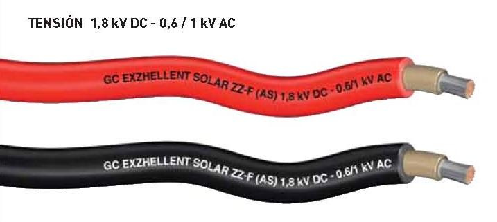 tipo de cable de corriente continua para instalación solar fotovoltaica